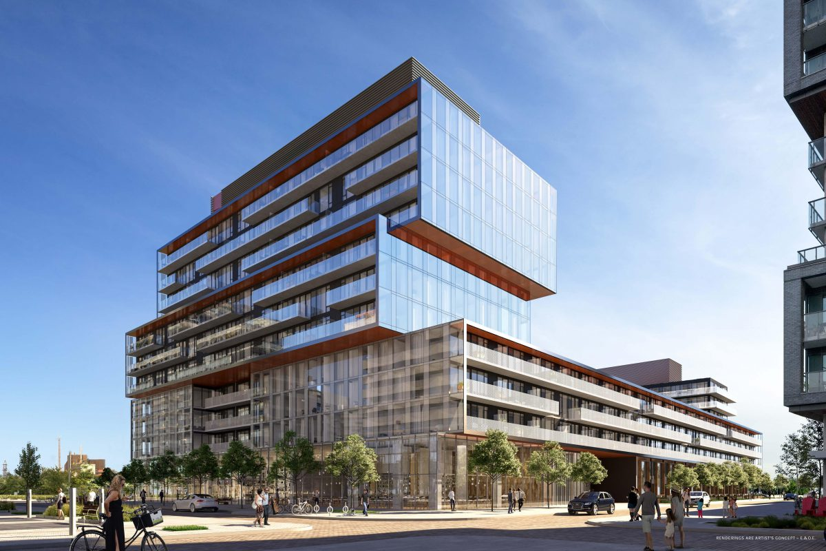 Canary Commons features two visually striking towers.